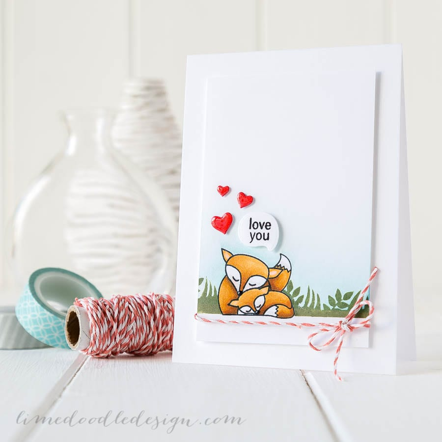Cute foxy love. For more please visit https://limedoodledesign.com/2014/11/foxy-love-video/ Debby Hughes - Lime Doodle Design - #love #fox #card
