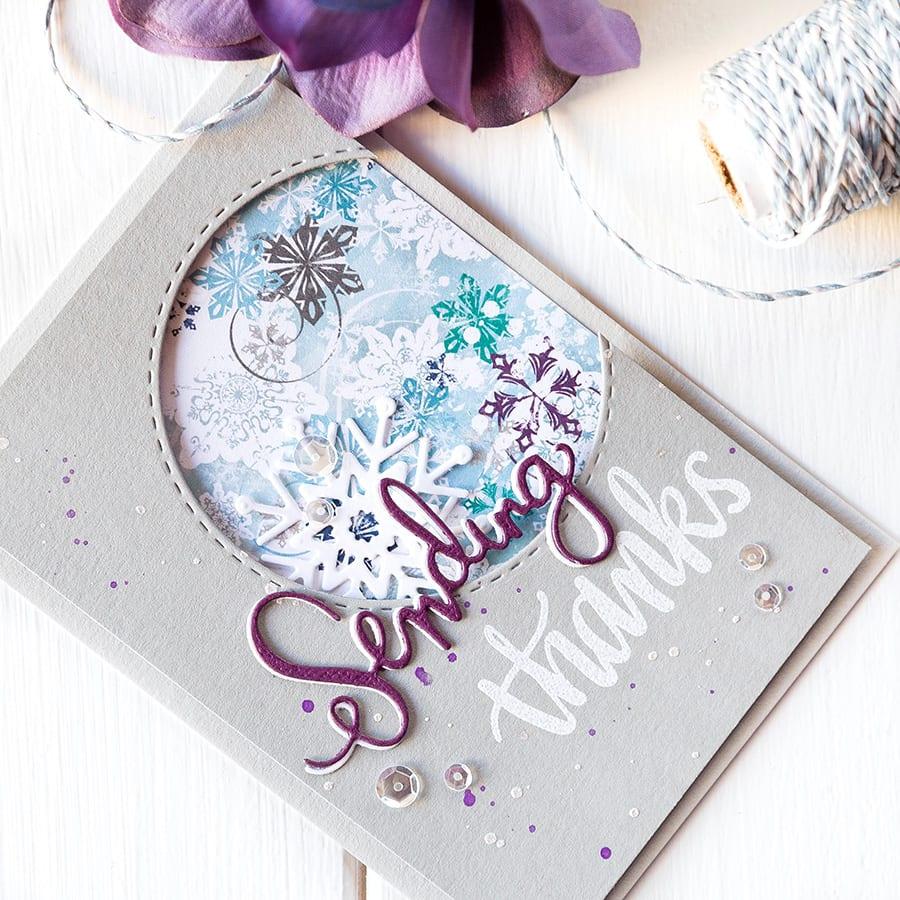 Winter thank you card. For more please visit https://limedoodledesign.com/2014/12/january-card-k…sending-thanks/ Debby Hughes - Lime Doodle Design #simonsaysstamp #card #kit #thank