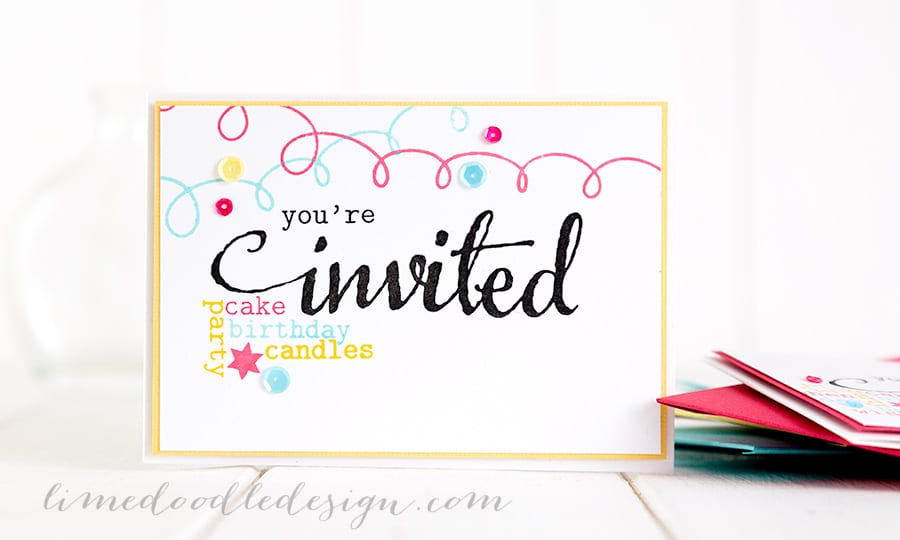 Party invites. For more please visit https://limedoodledesign.com/2015/01/party-invites/ Debby Hughes - Lime Doodle Design #birthday #party #invites