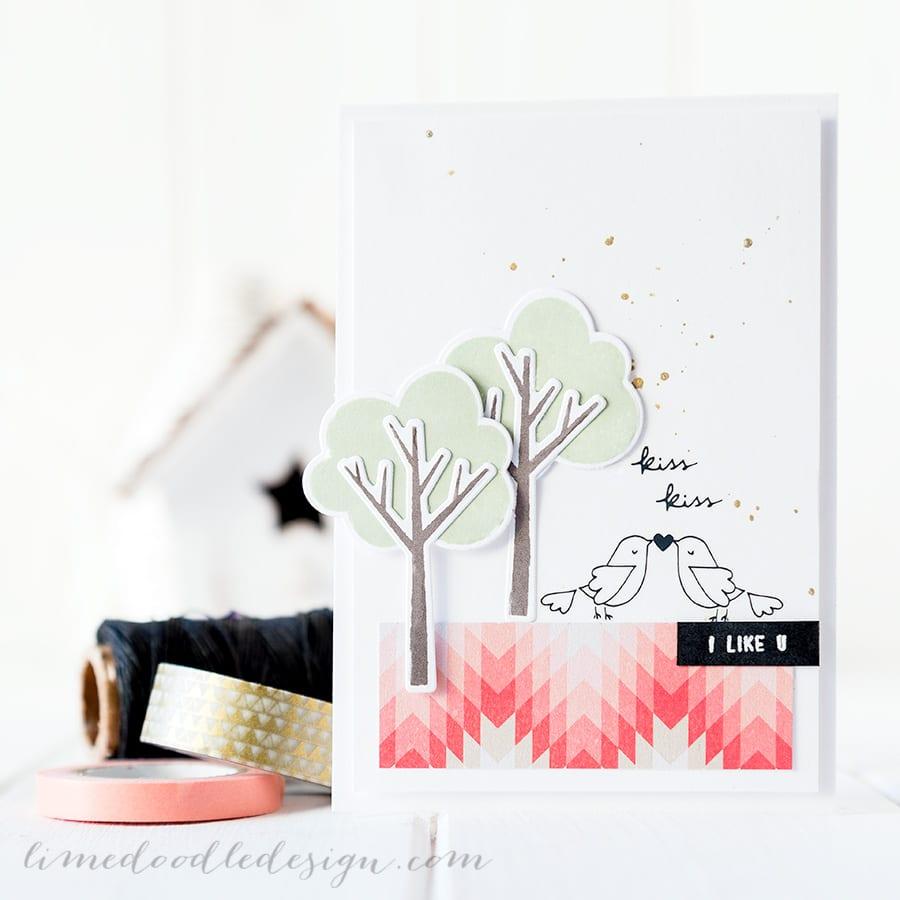 February Card Kit. For more please visit https://limedoodledesign.com/2015/01/kiss-kiss/ Debby Hughes - Lime Doodle Design #card #kit #valentine