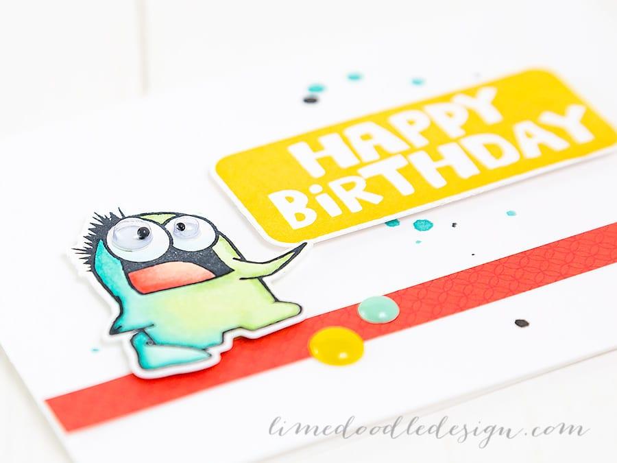 Monster Birthday Card. For more please visit https://limedoodledesign.com/2015/01/monster-birthday Debby Hughes - Lime Doodle Design #card #monster #birthday