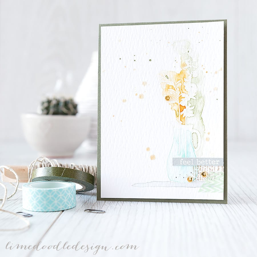 For more please visit  https://limedoodledesign.com/2015/02/feel-better/ Debby Hughes - Lime Doodle Design #card #watercolor #watercolour