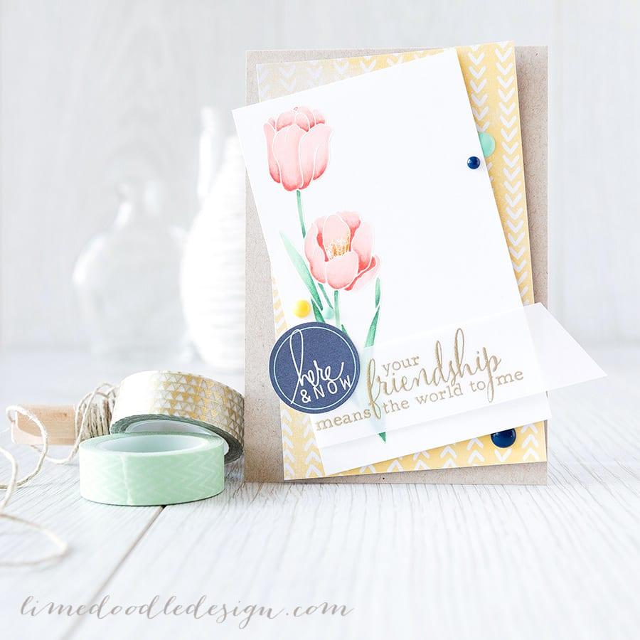 https://limedoodledesign.com/2015/02/your-friendship/ Debby Hughes - Lime Doodle Design #card #tulip #flower #friend