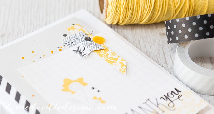 Debby Hughes - Lime Doodle Design - https://limedoodledesign.com/2015/02/thank-you-march-card-kit/ - #card #thank #flower #yellow