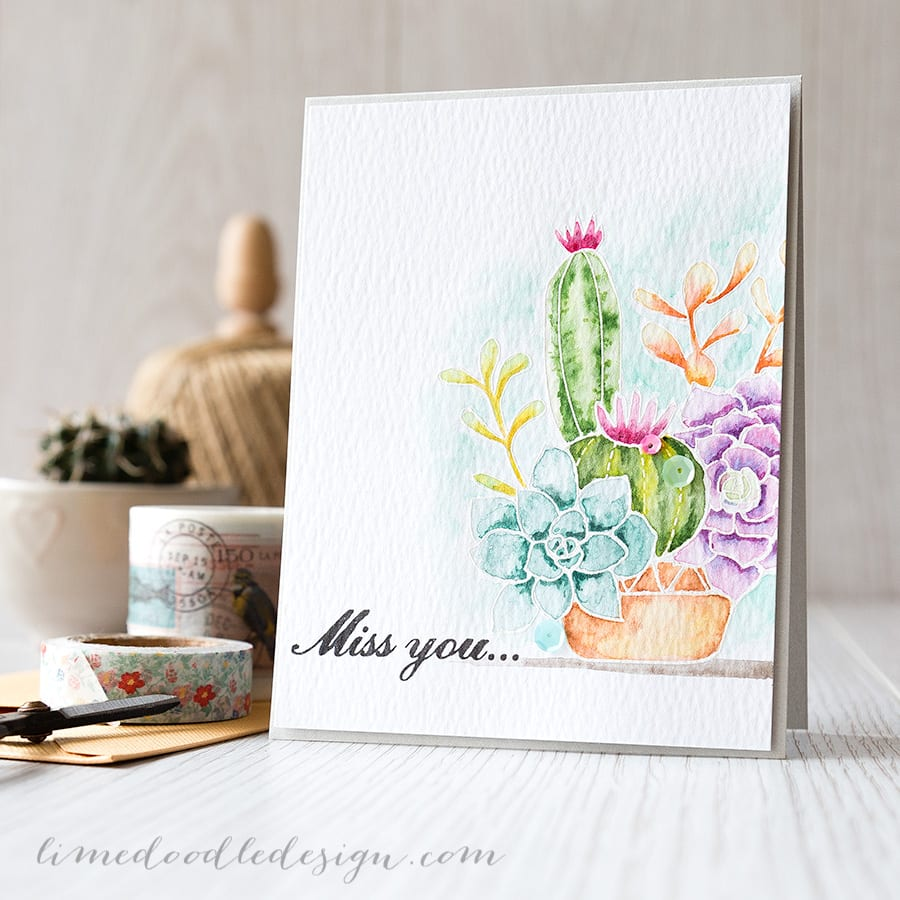 Debby Hughes - Lime Doodle Design https://limedoodledesign.com/2015/02/video-watercoloured-succulents/