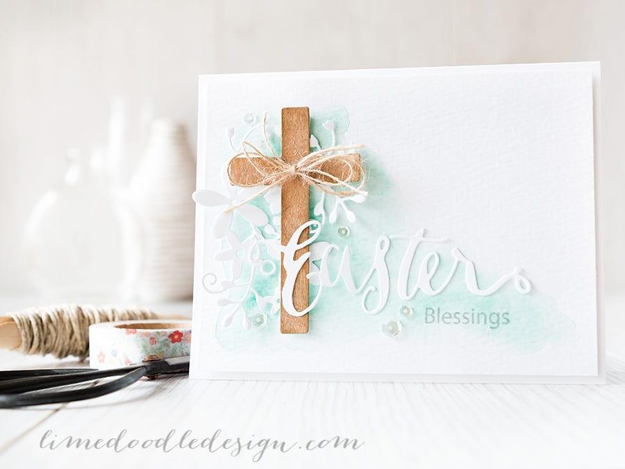 Debby Hughes - Lime Doodle Design https://limedoodledesign.com/2015/03/easter-blessings/ #Easter #card #cross