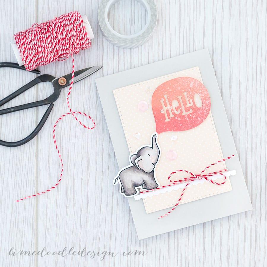 Debby Hughes - Lime Doodle Design  https://limedoodledesign.com/2015/03/hello-ellie/ #card #hello #elephant #cute