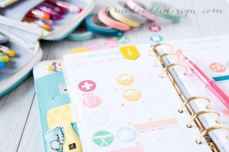 Debby Hughes - Lime Doodle Design  https://limedoodledesign.com/2015/03/repositionable-planning/ #planner #stamps #month #colorcrush #websterspages