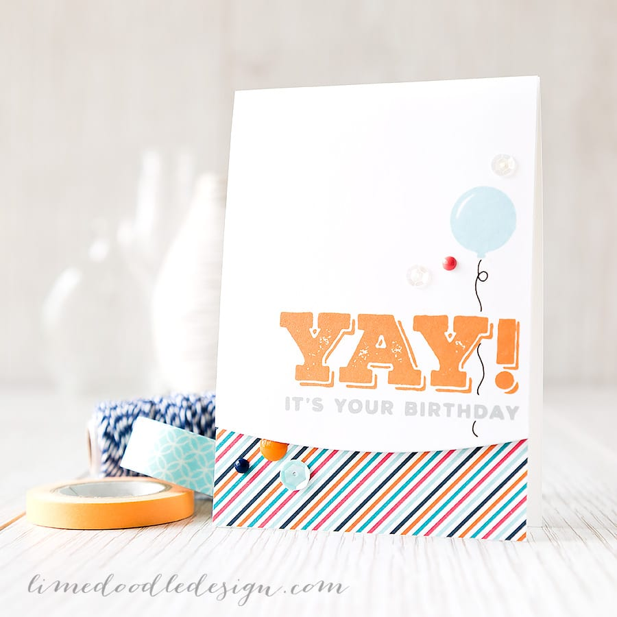 Debby Hughes - Lime Doodle Design https://limedoodledesign.com/2015/03/yay/ #card #kit #birthday #boy #balloon