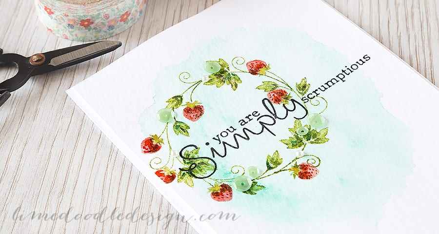 Debby Hughes - Lime Doodle Design https://limedoodledesign.com/2015/04/simply-scrumptious/ #card #summer #strawberry #wreath