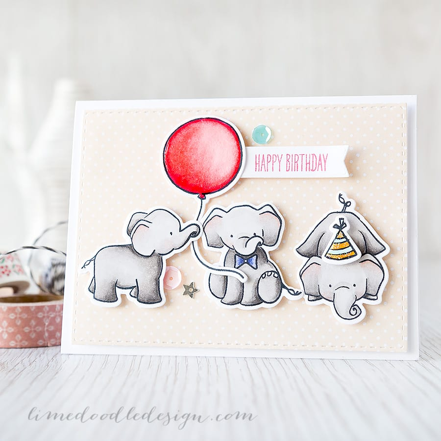 Debby Hughes - Lime Doodle Design https://limedoodledesign.com/2015/04/happy-birthday-ellie/ #birthday #card #elephant #party #balloon