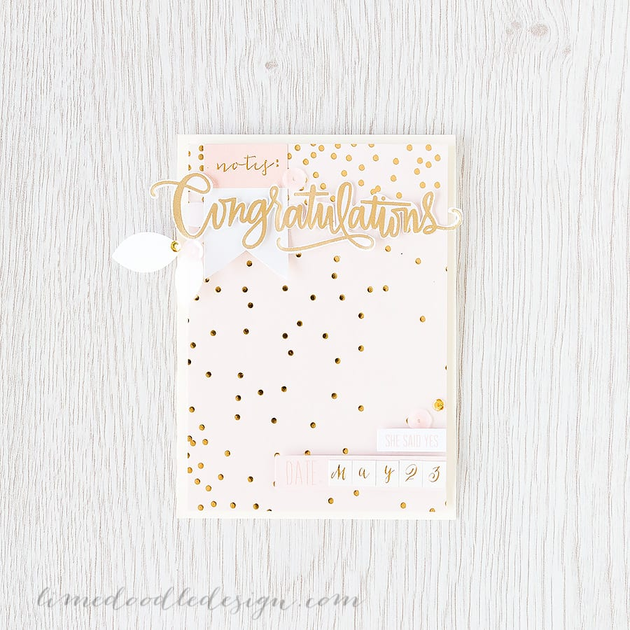 Debby Hughes - Lime Doodle Design https://limedoodledesign.com/2015/04/may-card-kit-congratulations/ #wedding #card #cardkit #pink #gold