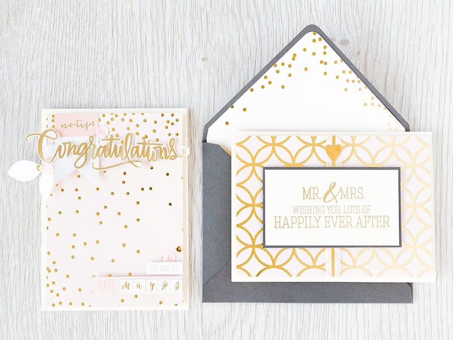 Debby Hughes - Lime Doodle Design https://limedoodledesign.com/2015/04/may-card-kit-mr-mrs/ #wedding #card #cardkit #pink #gold