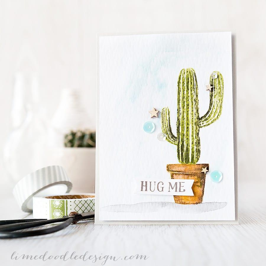 Debby Hughes - Lime Doodle Design https://limedoodledesign.com/2015/04/hug-me-easy-watercolour/ #card #cactus