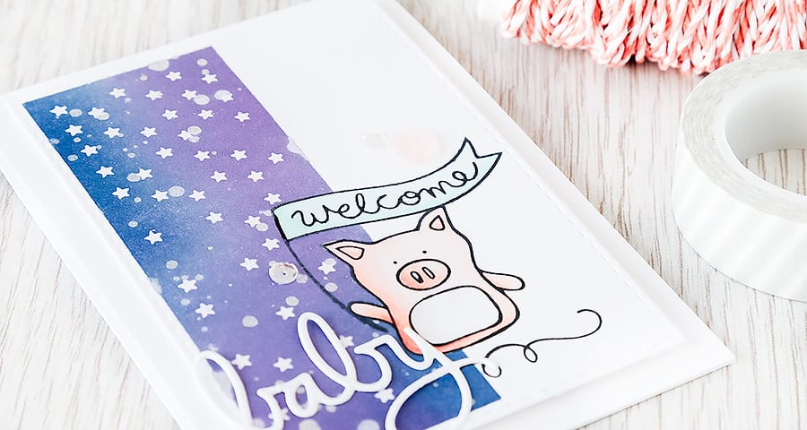 Debby Hughes - Lime Doodle Design https://limedoodledesign.com/2015/04/welcome-baby-masking/ #card #sssfallingforyou #baby