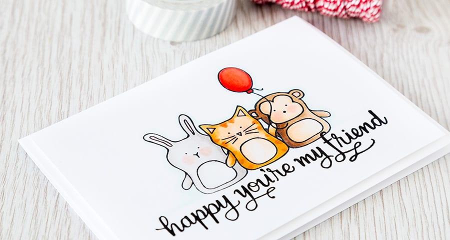 Debby Hughes - Lime Doodle Design https://limedoodledesign.com/2015/04/video-hex-chart-misti-masking/ #card #baby #animals #copic