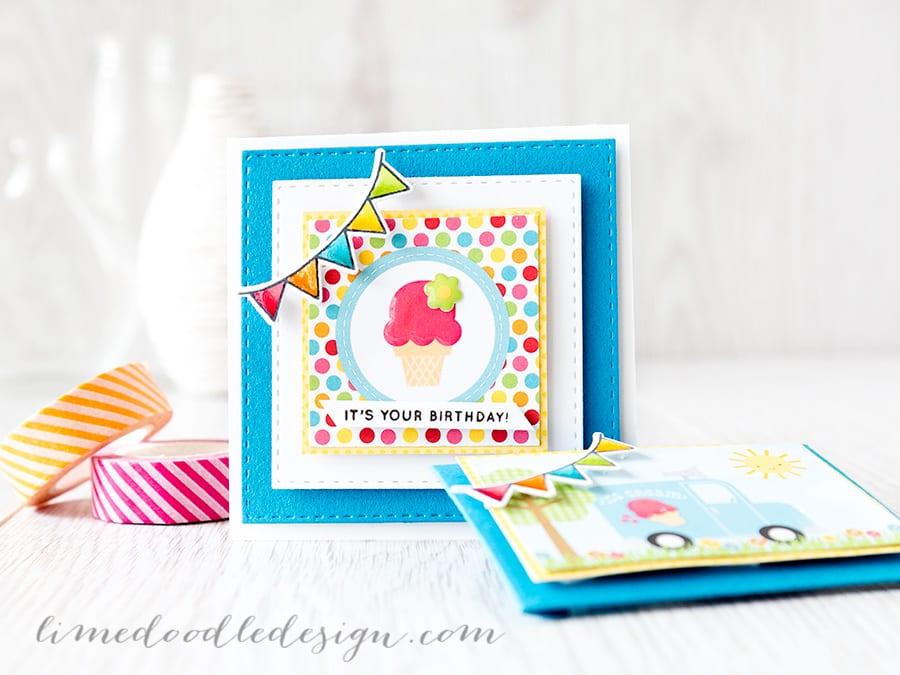 Debby Hughes - Lime Doodle Design https://limedoodledesign.com/2015/05/june-card-kit-card-envie-duo/ #card #gift #envelope #children #party
