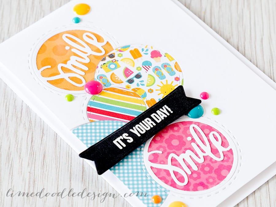 Debby Hughes - Lime Doodle Design https://limedoodledesign.com/2015/05/june-card-kit-…id-die-cutting/ #card #circle #bright #smile