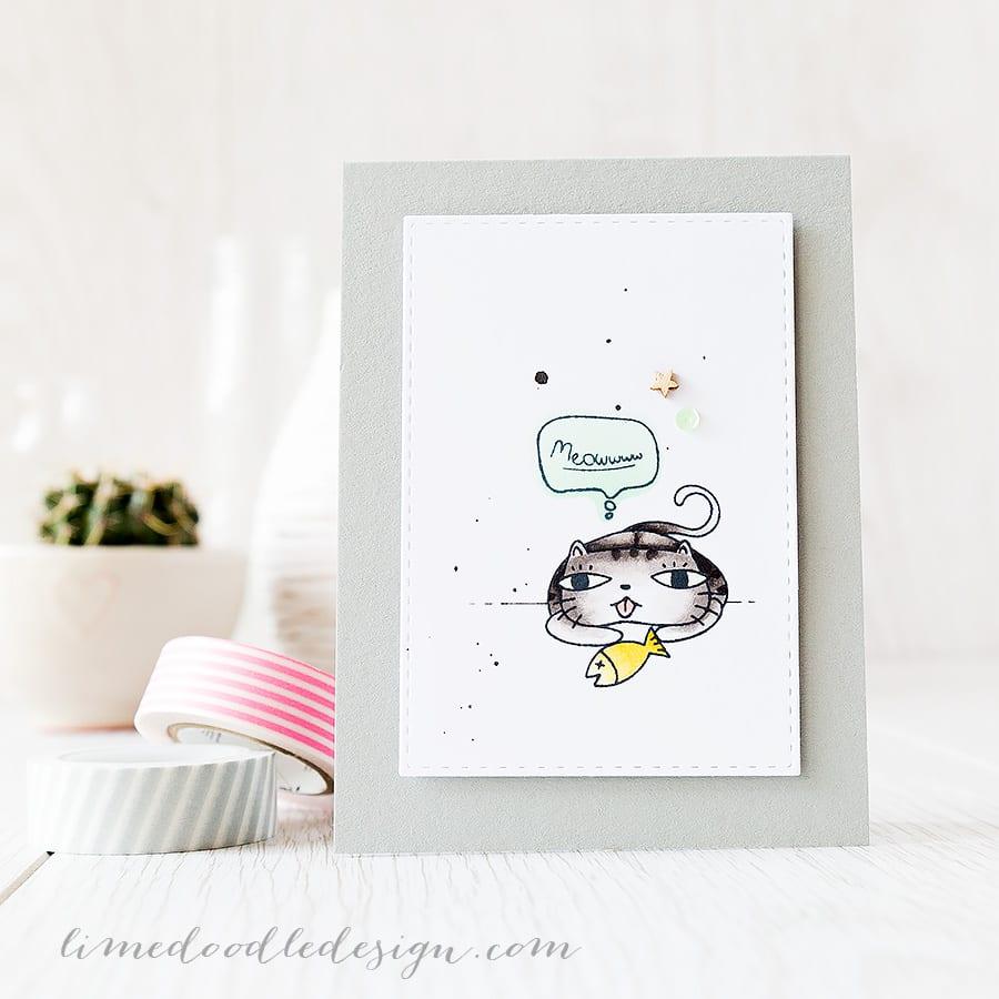 clean and simple (CAS) cute kitty birthday card - Debby Hughes - Lime Doodle Design https://limedoodledesign.com/2015/05/cas-meowwww/ #cat #card #birthday