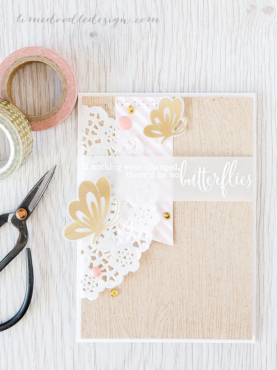 Debby Hughes - Lime Doodle Design https://limedoodledesign.com/2015/05/butterflies/ #card #butterfly #kraft #gold #white #pink