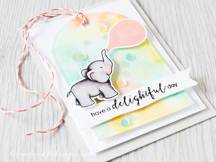 watercolor blog hop - Debby Hughes - Lime Doodle Design https://limedoodledesign.com/2015/06/watercolor-blog-hop/ #watercolor #watercolour #elephant #bokeh #card #tag