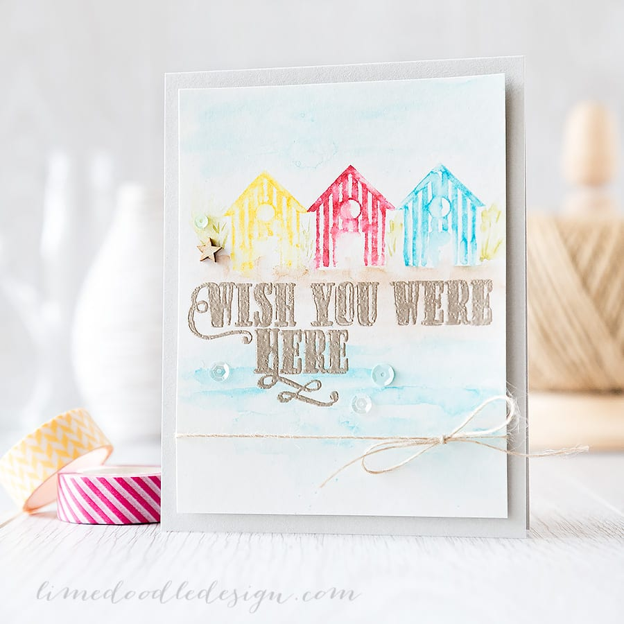 messy watercolouring with clean color markers - Debby Hughes - Lime Doodle Design https://limedoodledesign.com/2015/06/messy-watercol…-color-markers/ #zig #watercolour #watercolor #card #beach
