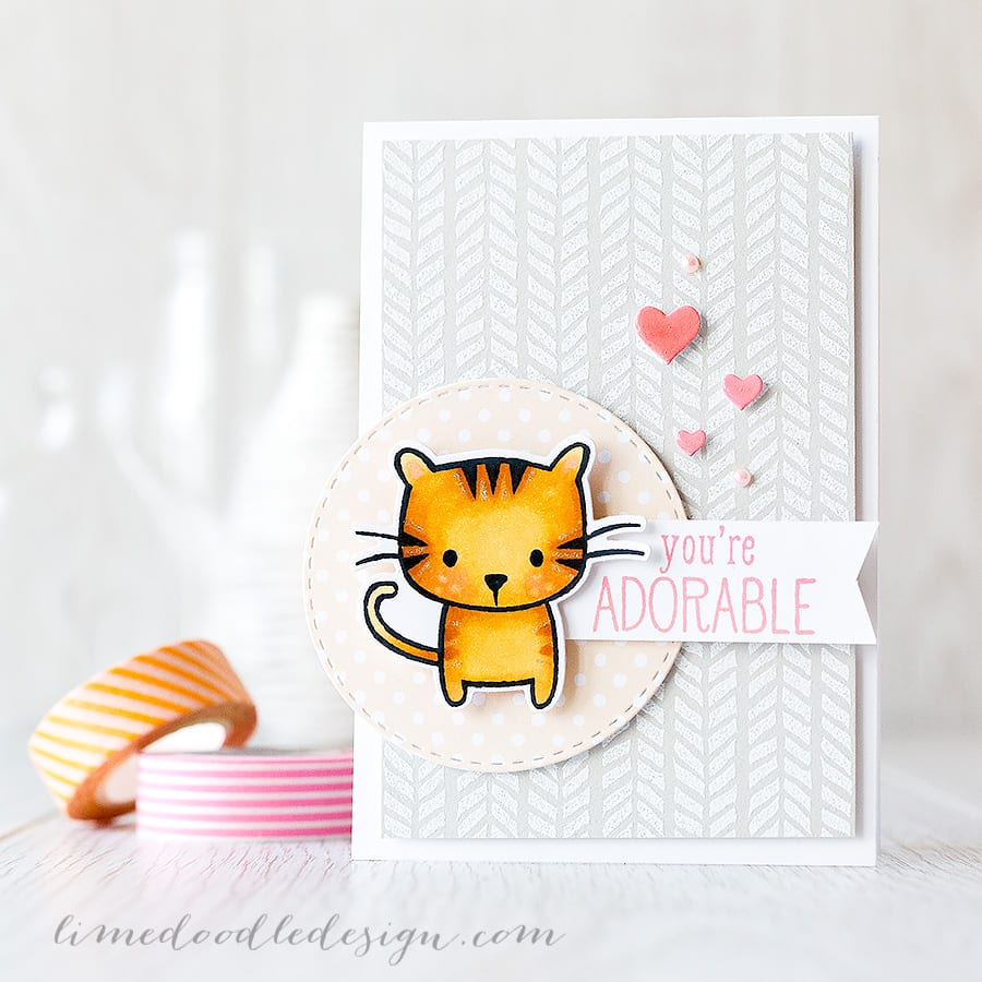 A white heat embossed background on a neutral colour really adds subtle interest and texture to a card while still letting the focal point shine and boy what a cutie is this cat from Hero Arts Playful Animal set! Find out more by clicking on the following link: https://limedoodledesign.com/2015/07/white-heat-embossed-background/ ~ Debby Hughes ~ Lime Doodle Design