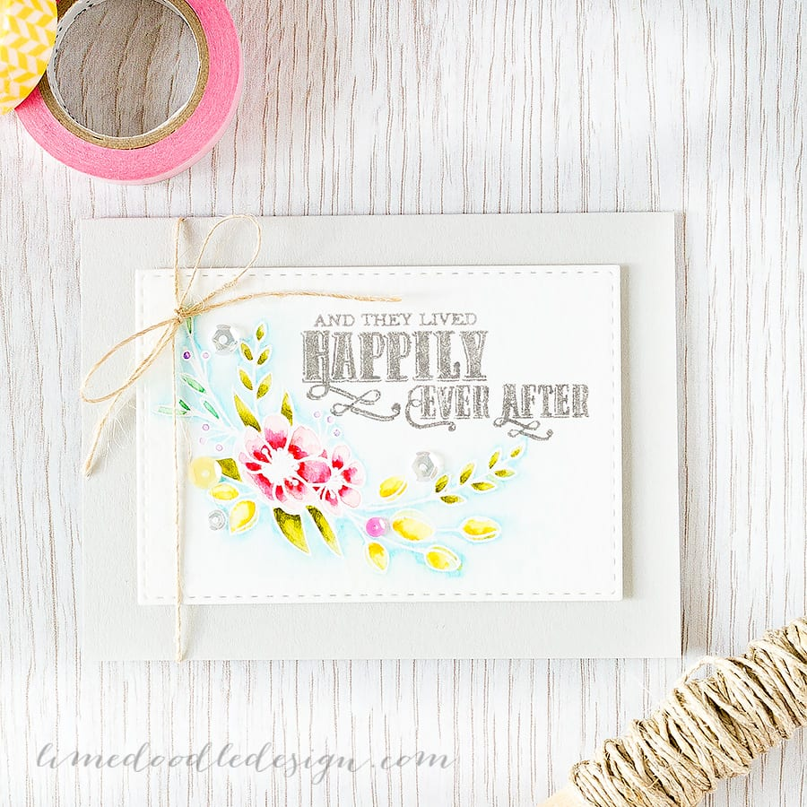 White heat embossing flowers really does let them shine! I'm using the new Fairytale Ending set from Clearly Besotted Stamps. Find out more by clicking on the following link: https://limedoodledesign.com/2015/07/white-heat-embossing-flowers/ ~ Debby Hughes ~ Lime Doodle Design