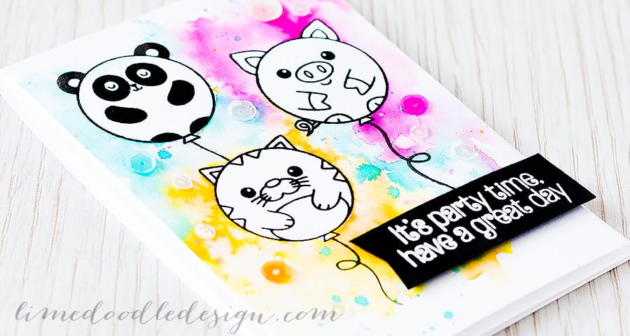 Could animal balloons be any cuter! A colourful watercolour wash around and a good dose of sequins make this card great for a children's birthday Find out more by clicking on the following link: https://limedoodledesign.com/2015/07/animal-balloons/ ~Debby Hughes ~ Lime Doodle Design