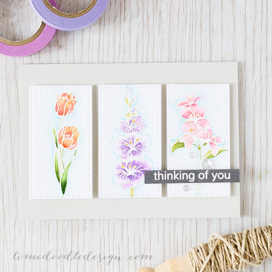 A botanical prints inspired watercolour card using the new Clearly Besotted Miniature Floral Collection set Find out more by clicking on the following link: https://limedoodledesign.com/2015/07/botanical-prints/ ~ Debby Hughes ~ Lime Doodle Design