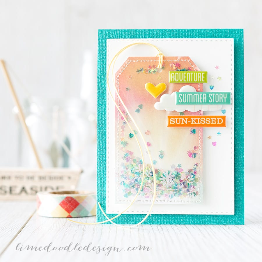 Shakers of any style are so much fun! Here I used the jam-packed Simon Says Stamp August Card Kit to create a shaker tag. Find out more by clicking on the following link: https://limedoodledesign.com/2015/07/shaker-tag-august-card-kit/