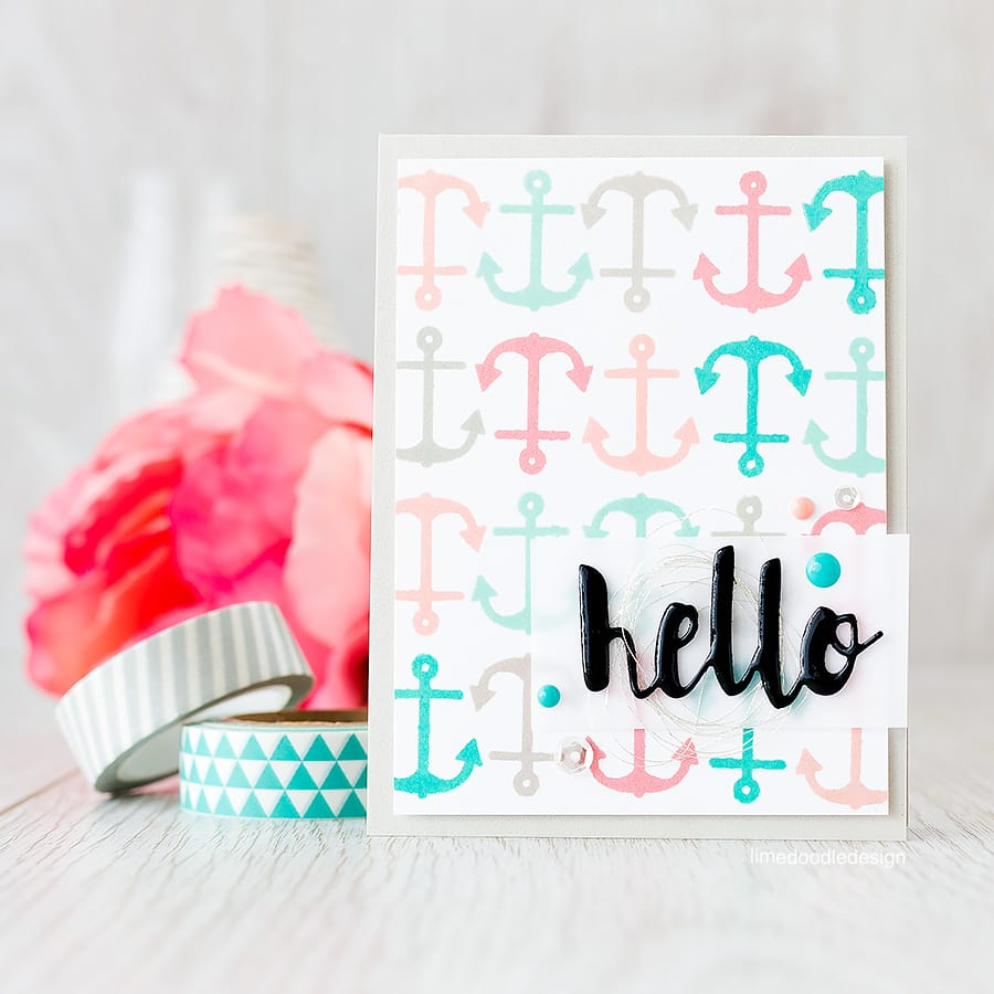 Repeat stamped background using fresh nautical ink colours. Find out more by clicking on the following link: https://limedoodledesign.com/2015/07/repeat-stamped-background/
