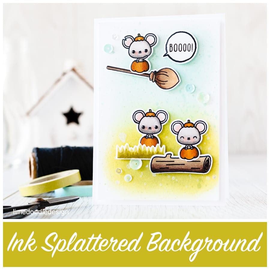 Ink splattered background with the cutest Halloween mice on the block from Mama Elephant. To find out more please click on the following link: https://limedoodledesign.com/2015/08/ink-splattered-background/
