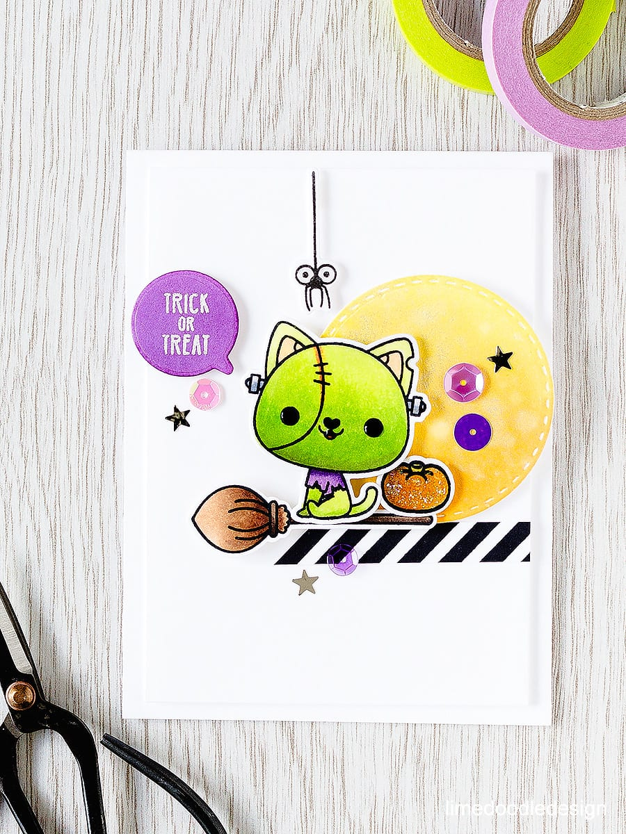 Frankenstein Kitty - colouring cute critters for Halloween with Mama Elephant. Find out more by clicking the following link: https://limedoodledesign.com/2015/08/frankenstein-kitty/