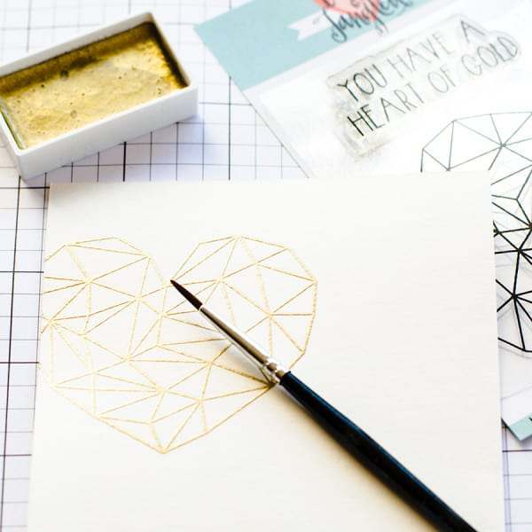 Gold watercoloring with Gansai Tambi paints and the super Heart of Gold set from Neat & Tangled. Find our more by clicking the following link: https://limedoodledesign.com/2015/08/gold-watercoloring/