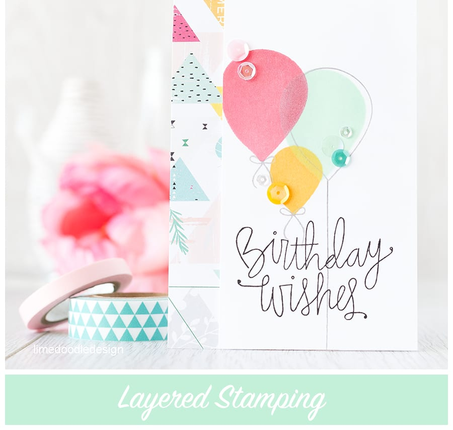 Layered stamping creates different colors where the stamping overlaps. Find out more by clicking on the following link: https://limedoodledesign.com/2015/08/layered-stamping-2/