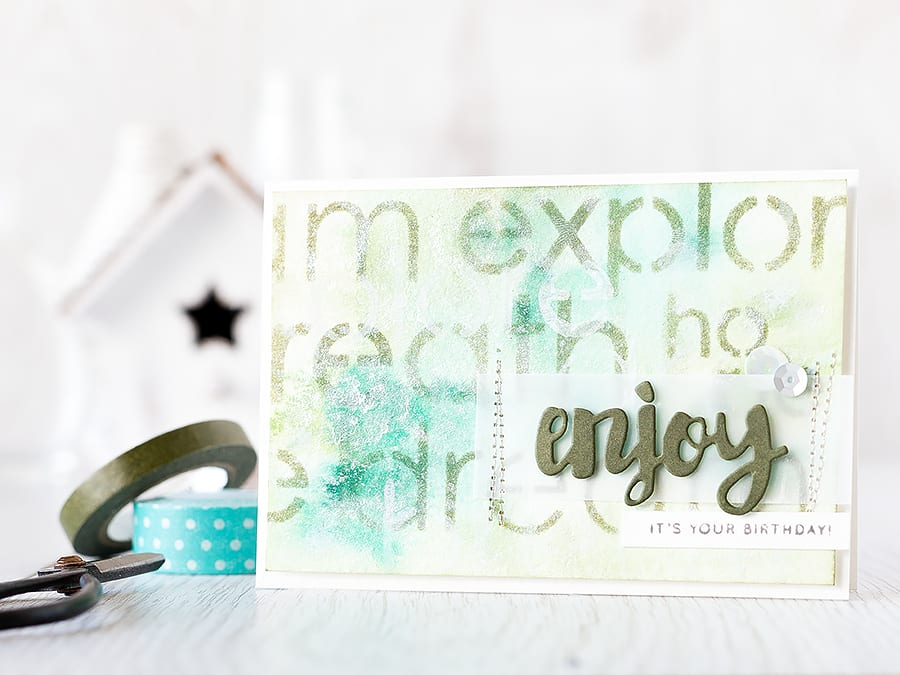 Stencilled background over watercolored piece. Find out more by clicking here: https://limedoodledesign.com/2015/08/stencilled-background/