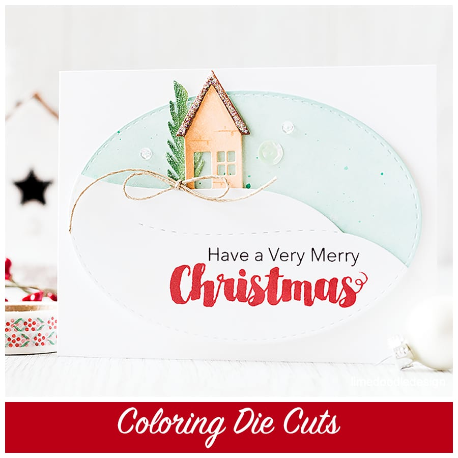 Coloring die cuts - you don't need to have a stamp to match your die cut; coloring them directly gives a soft natural look. To find out more please click the following link: https://limedoodledesign.com/2015/09/coloring-die-cuts/