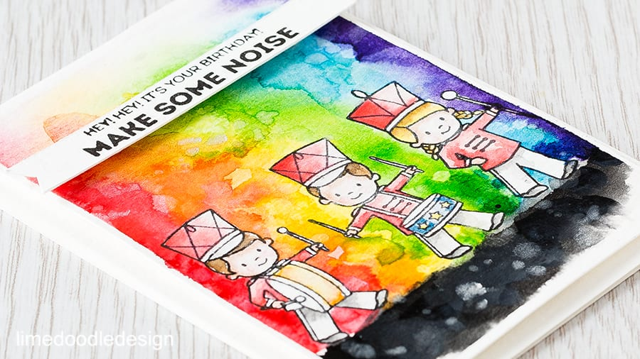I love the 'make some noise' sentiment of this card so visualised a watercolor rainbow of noisy fun coming from the band members! Find out more by clicking on the following link: https://limedoodledesign.com/2015/09/watercolor-rainbow/