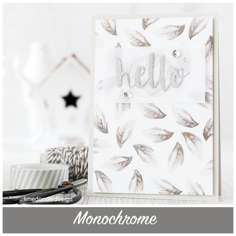 Monochrome - the combination of greys and silvers in comparison to the busy colourful world around is a peaceful reflection of the lovely shapes of the leaf image in this Altenew STAMPtember set. Find out more by clicking the following link: https://limedoodledesign.com/2015/09/monochrome/