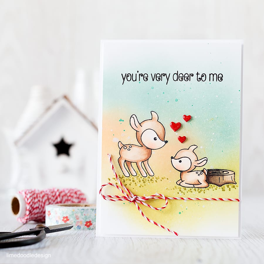 An ink blended background is the perfect backdrop to these cute deer! Find out more by clicking the following link: https://limedoodledesign.com/2015/09/ink-blended-background/