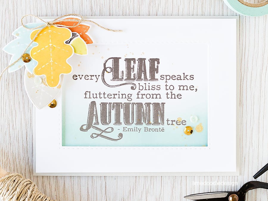 Using a die cut frame to highlight a lovely sentiment with die cut autumn leaves to accent. Find out more by clicking the following link: https://limedoodledesign.com/2015/09/die-cut-frame/