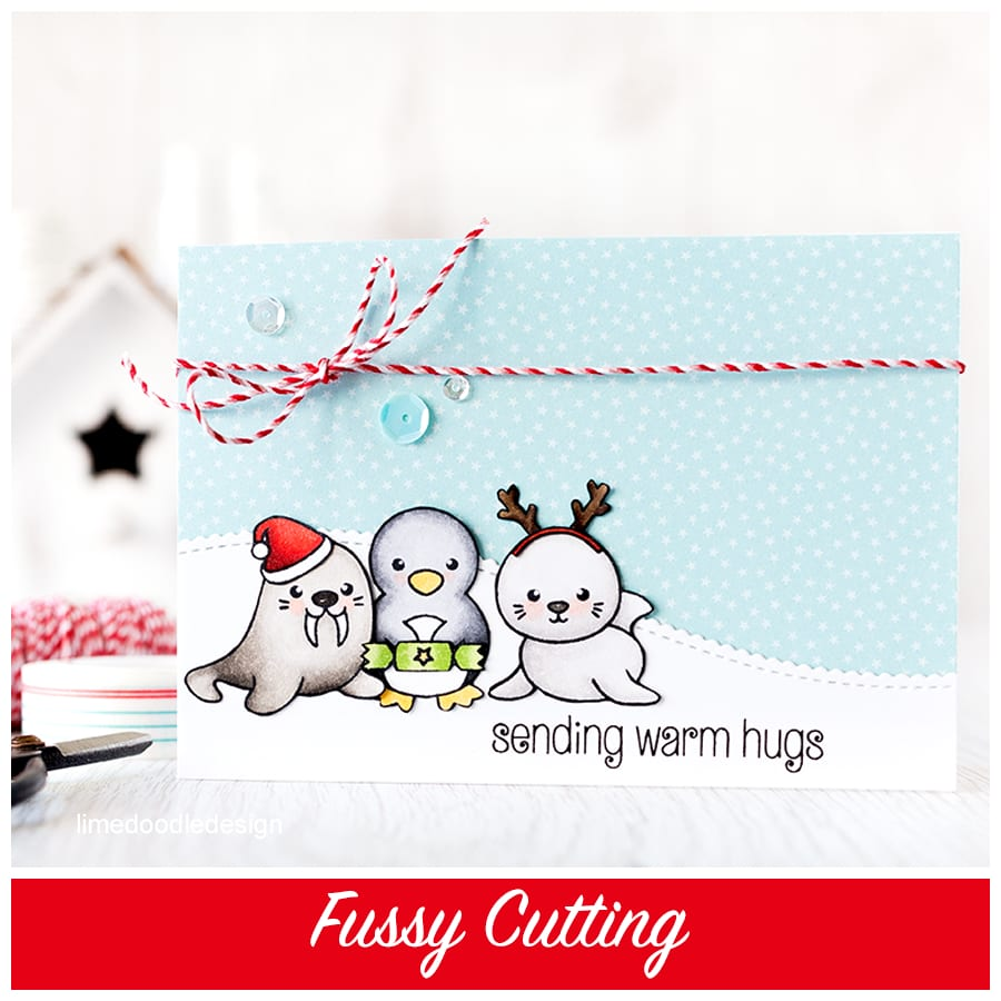 Fussy cutting allows for elements to be layered and overlapped without the white edge you get when using dies. Find out more by clicking the following link: https://limedoodledesign.com/2015/09/fussy-cutting/