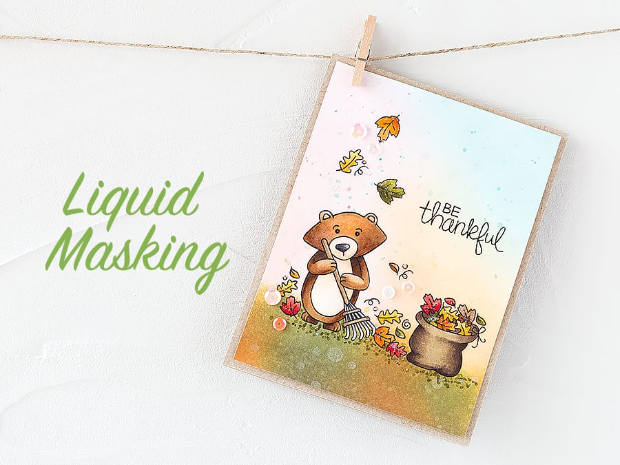 Liquid masking makes easy work of all the leaves when working on this autumn scene. FInd out more by following this link: https://limedoodledesign.com/2015/09/liquid-masking/