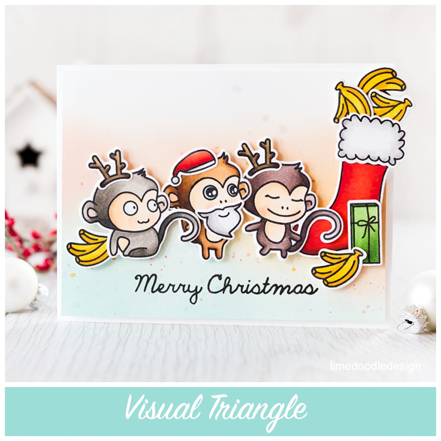 Placing elements in a visual triangle makes it pleasing to the eye. When those elements are bright bananas in a monkey Christmas party it's even more fun LOL. Find out more by clicking the following link: https://limedoodledesign.com/2015/09/visual-triangle/
