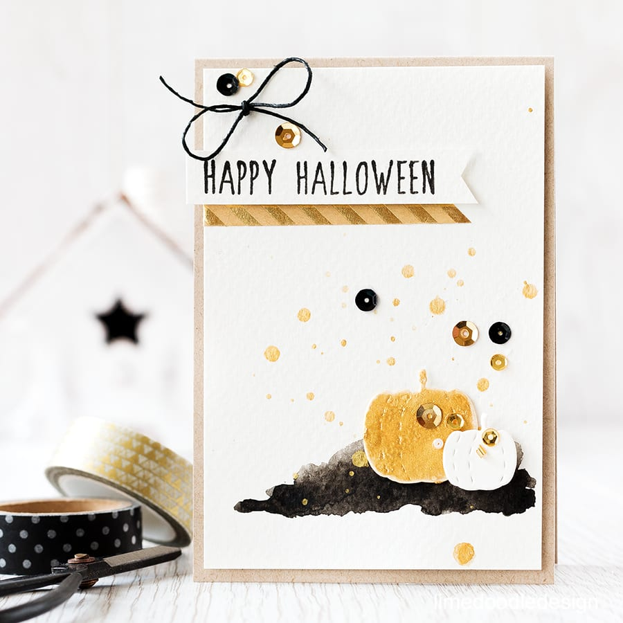 The lover of soft neutrals in me is drawn towards Halloween decor which concentrates on neutrals, black and gold. I used these Stitched Pumpkin dies to create a gold gourd. Find out more by clicking the following link: https://limedoodledesign.com/2015/10/gold-gourd/