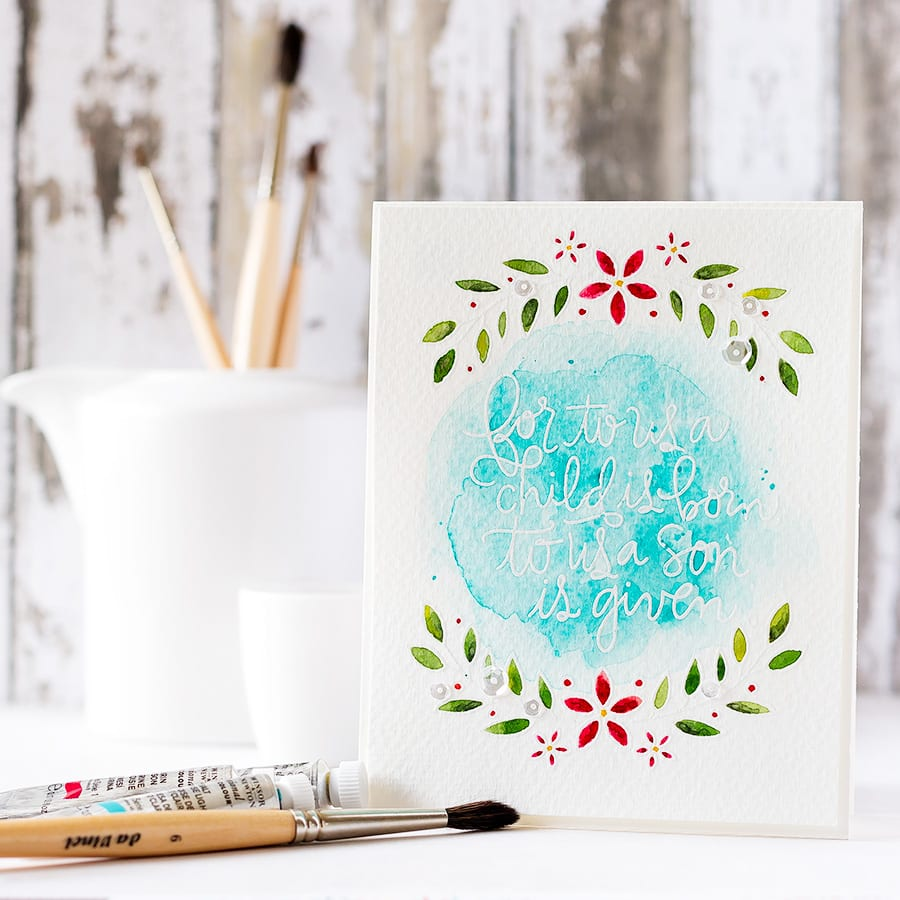 Softly watercolored, white heat embossed sprigs with a gorgeous sentiment. Find out more by clicking the following link: https://limedoodledesign.com/2015/10/new-release-blog-hop/