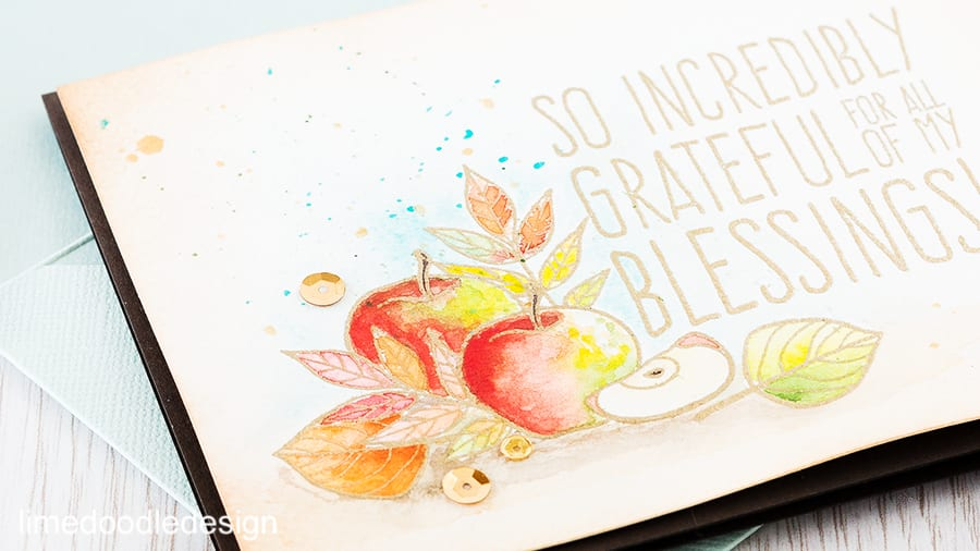 A watercolored autumn table of apples and leaves. Find out more by clicking on the following link: https://limedoodledesign.com/2015/10/autumn-table/