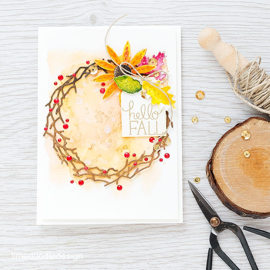 This watercolored fall wreath is inspired by the daisies in my garden bravely trying their best despite the turn in temperatures! Find out more by clicking on the following link https://limedoodledesign.com/2015/10/watercolored-fall-wreath/