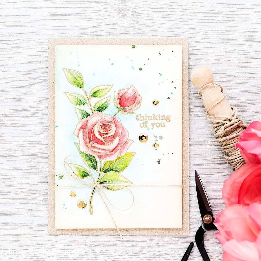 Gold embossed flowers let the watercoloring shine. For more please click the following link: https://limedoodledesign.com/2015/11/gold-embossed-flowers/